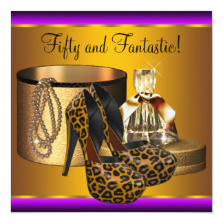 High Heel Shoes Leopard Gold Womans 50th Birthday 5.25x5.25 Square Paper Invitation Card
