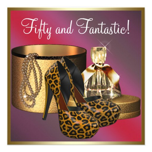 High Heel Shoes Leopard Gold Womans 50th Birthday Personalized Invitation