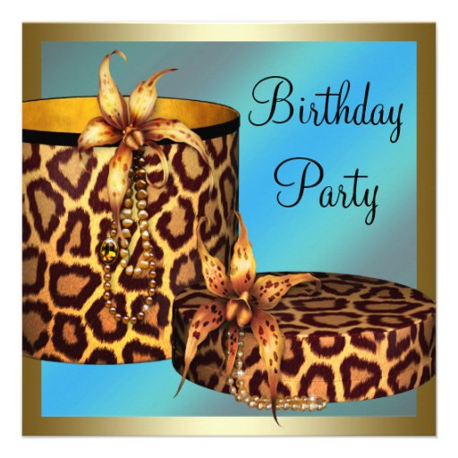 High Heel Shoes Leopard Gold Womans 50th Birthday Invite