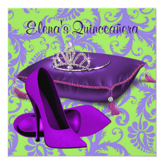 High Heel Shoes Lime Green Purple Quinceanera Card