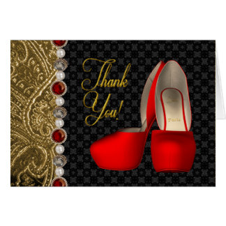 High Heel Shoes Pearls Black Ruby Red Gold Thank Y Card