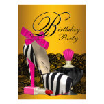 High Heel Shoes Pink and Gold Pink Zebra Party Custom Invitation