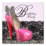 High Heel Shoes Pink Leopard Birthday Party Invites