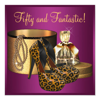 High Heel Shoes Pink Leopard Womans 50th Birthday Invitation