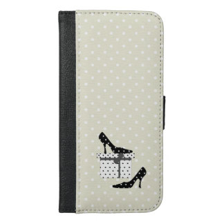 High Heel Shoes, Polka Dots, Gift Box - Black iPhone 6/6s Plus Wallet Case