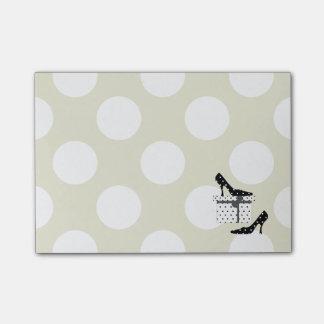 High Heel Shoes, Polka Dots, Gift Box - Black Post-it® Notes