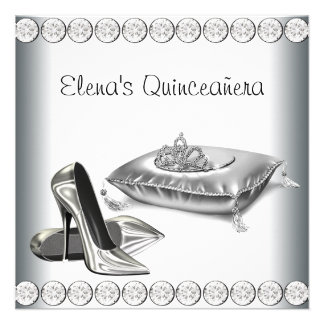 High Heel Shoes Princess Tiara White Quinceanera Personalized Invite