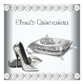 High Heel Shoes Princess Tiara White Quinceanera 5.25x5.25 Square Paper Invitation Card