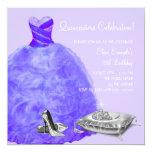 High Heel Shoes Purple Princess Quinceanera Custom Invites