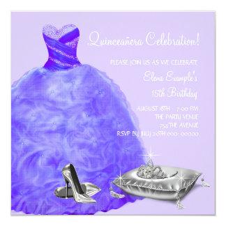 High Heel Shoes Purple Princess Quinceanera Invitation