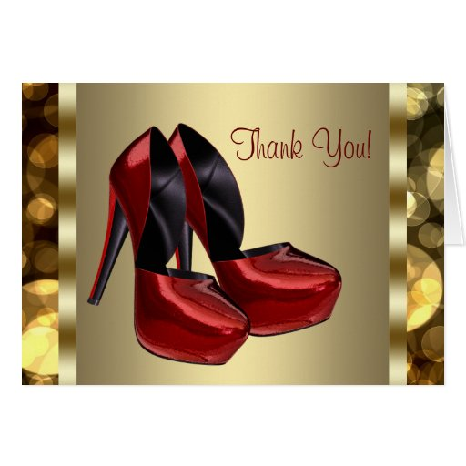 High Heel Shoes Red Gold Thank You Cards