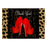 High Heel Shoes Red Leopard Thank You Cards
