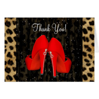 High Heel Shoes Red Leopard Thank You Cards Note Card