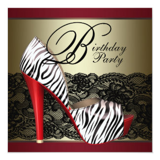 High Heel Shoes Red Zebra Party invitations