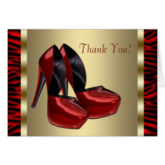 High Heel Shoes Red Zebra Thank You Cards Note Card