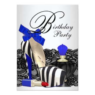 High Heel Shoes Royal Blue Birthday Party Card
