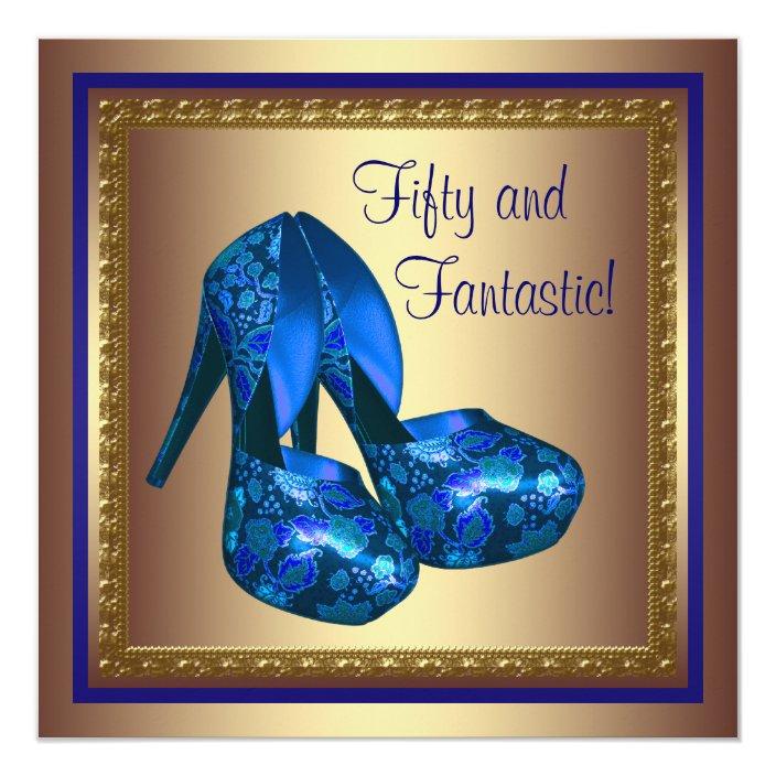 High Heel Shoes Royal Blue Gold 50th