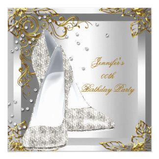 High Heel Shoes Silver Gold Birthday Party 5.25x5.25 Square Paper Invitation Card