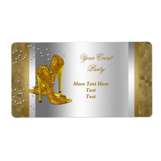 High Heel Shoes Silver Gold Event Shipping Label