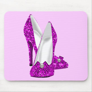 High Heel Shoes Stileto Glitter Pink Mouse Pad