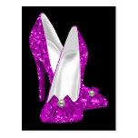 High Heel Shoes Stileto Glitter Pink Postcard
