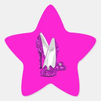 High Heel Shoes Stileto Glitter Pink Star Sticker