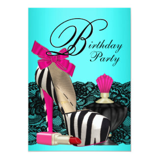 High Heel Shoes Teal Blue and Pink Zebra Party Card