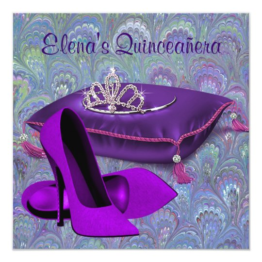 High Heel Shoes Teal Blue Purple Quinceanera Card