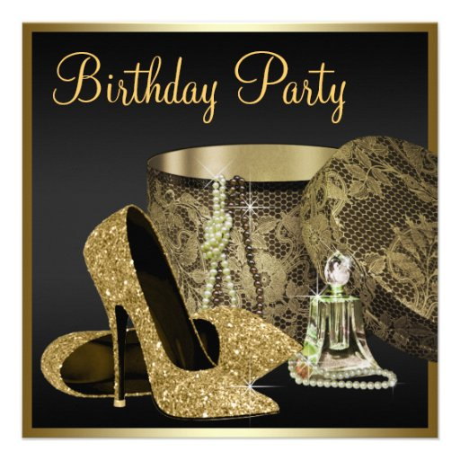 High Heel Shoes Womans Black and Gold Birthday Custom Invite