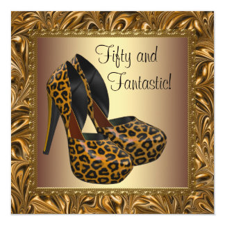 High Heel Shoes Womans Leopard Gold 50th Birthday Custom Invites