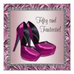 High Heel Shoes Womans Pink Black 50th Birthday Invites