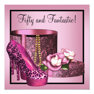 High Heel Shoes Womans Pink Leopard 50th Birthday 5.25x5.25 Square Paper Invitation Card