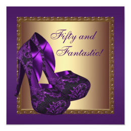 High Heel Shoes Womans Purple 50th Birthday Party Card