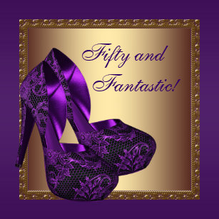 Purple and gold 50th birthday invitations announcements zazzle high heel shoes womans purple 50th birthday party invitation filmwisefo