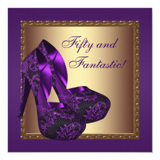 High Heel Shoes Womans Purple 50th Birthday Party Invitation