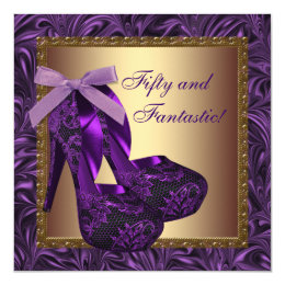 High Heel Shoes Womans Purple Birthday Party Card