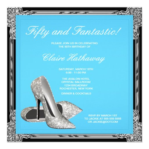 High Heel Shoes Womans Teal Blue Birthday Party Personalized Announcement
