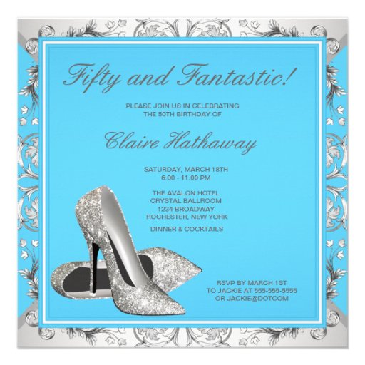High Heel Shoes Womans Teal Blue Birthday Party Personalized Invite