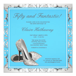 """High Heel Shoes Womans Teal Blue Birthday Party 5.25"""" Square Invitation Card"""