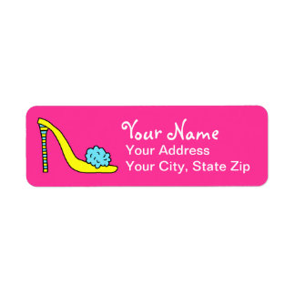 High Heeled Stiletto Shoe Pink Address Label