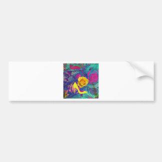 High heels and flower bumper sticker