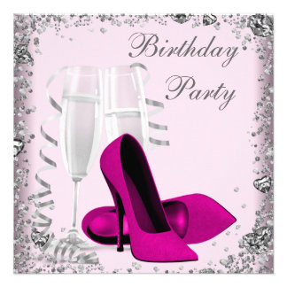 High Heels Champagne Pink Birthday Party Invite