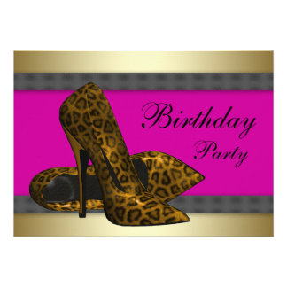 High Heels Fuchsia Hot Pink Leopard Birthday Personalized Announcement