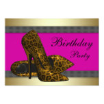High Heels & Fuchsia Hot Pink Leopard Birthday Personalized Announcement