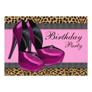 High Heels & Hot Pink Leopard Birthday Party Card