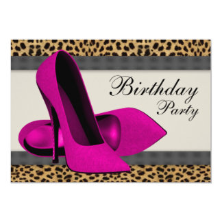 High Heels Hot Pink Leopard Birthday Party Card