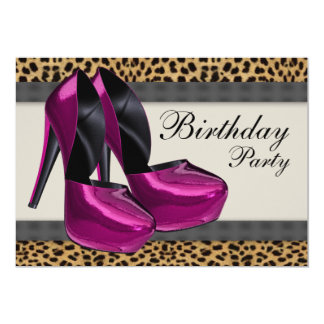 High Heels Hot Pink Leopard Birthday Party Personalized Invitation