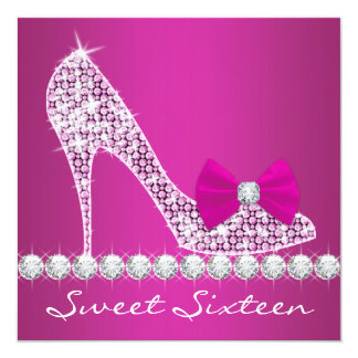 High Heels Hot Pink Sweet Sixteen Birthday Party Card