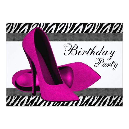 High Heels Hot Pink Zebra Birthday Party Card