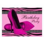High Heels & Hot Pink Zebra Birthday Party Announcement